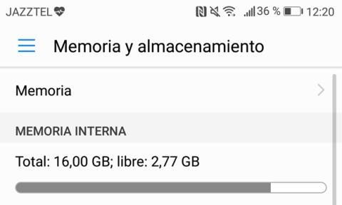 En total, teníamos menos de 3 GB libres en el P8 Lite que hemos podido probar