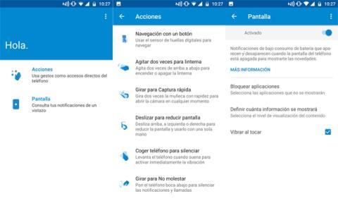 La aplicación de Moto que viene preinstalada en la interfaz de Motorola