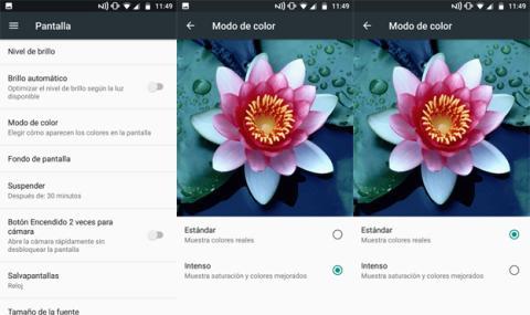 Los diferentes modos de color de la pantalla
