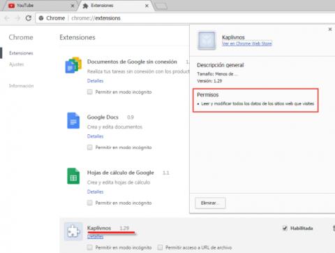 Extensión falsa Google Chrome
