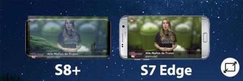 La diferencia entre los tamaños de pantalla del S8+ y del S7 Edge