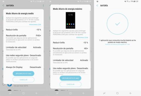 Los diferentes modos de ahorro de batería que se pueden activar en el Samsung Galaxy S8+