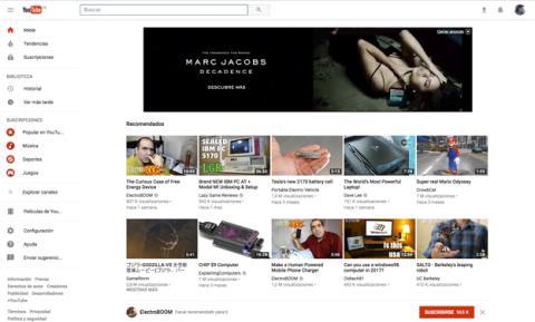 El nuevo diseño de YouTube web