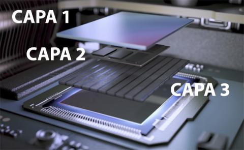 Las tres capas del sensor Exmor RS de la cámara de este móvil