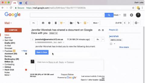 El ataque de phishing que se ha estado distribuyendo por Google Docs en Gmail