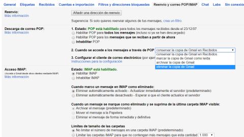 Habilitar POP para todos los mensajes en Gmail