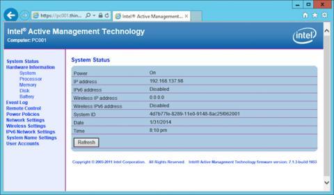 La página de Intel Active Management Technology
