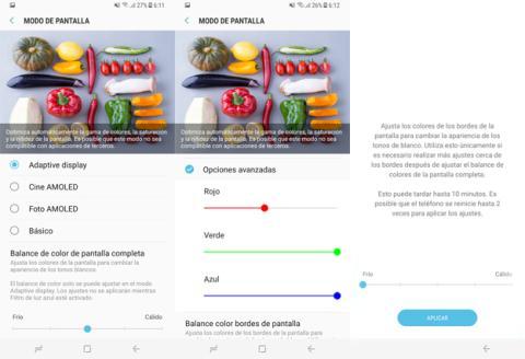Los nuevos ajustes de color pantalla del Samsung Galaxy S8
