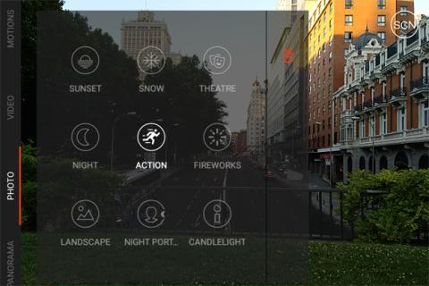 Las escenas disponibles en la aplicación de cámara de BQ
