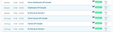 F1 horarios gp canada