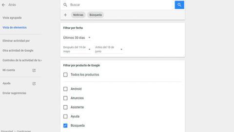 Accede a tu historial de búsqueda de Google