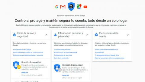 Panel de control de cuenta de usuario de Google