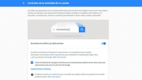Historial de páginas que visitas desde Google