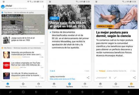 La plataforma de Upday en el Galaxy S8