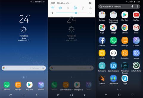 La interfaz del Samsung Galaxy S8