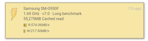 Las velocidades de lectura y escritura del S8