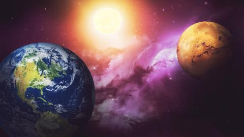El espacio: Tierra y Marte.