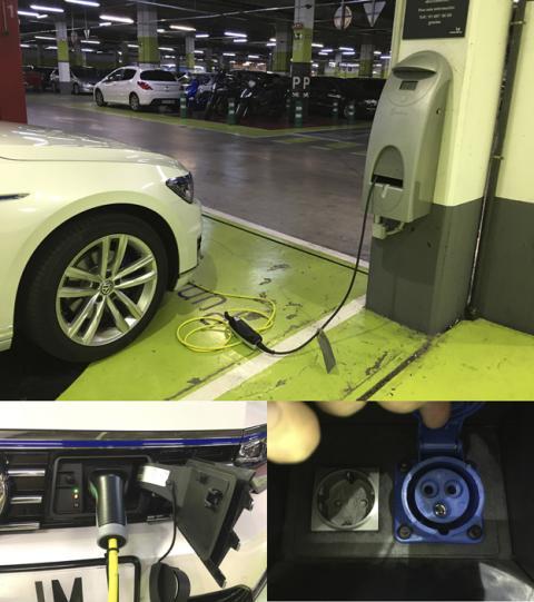 Cargando la batería del Passat GTE en un centro comercial