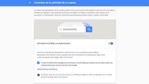 Desactiva el Control de actividad de Google