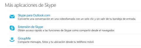 Más aplicaciones de Skype