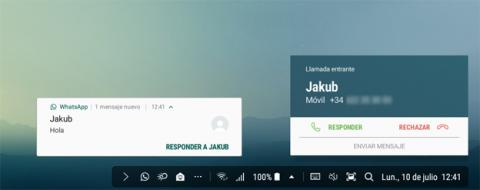 DeX permite tanto recibir/hacer llamadas como enviar/recibir mensajes de WhatsApp