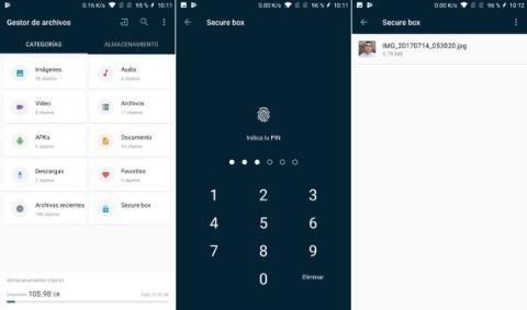 El nuevo gestor de archivos del OnePlus 5 incluye una nueva función denominada Caja de seguridad (Secure box),