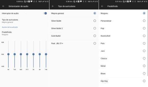 El OnePlus 5 incorpora una opción de 'Sintonizador de audio' en el apartado de Sonido que permite mejorar la calidad y ecualizar la señal jugando con los valores disponibles.