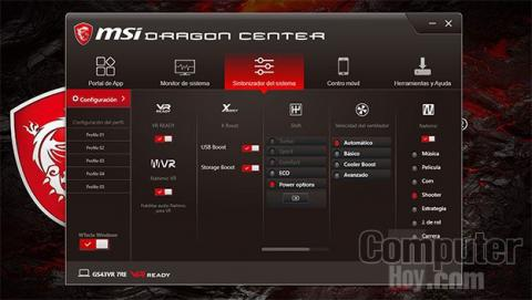 Dragon Center en un MSI GS43VR 7RE Phantom Pro