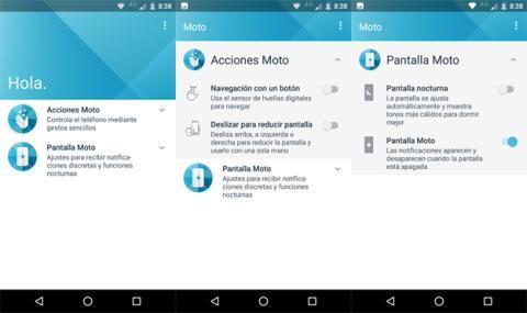 La aplicación de Motorola en el Moto E4