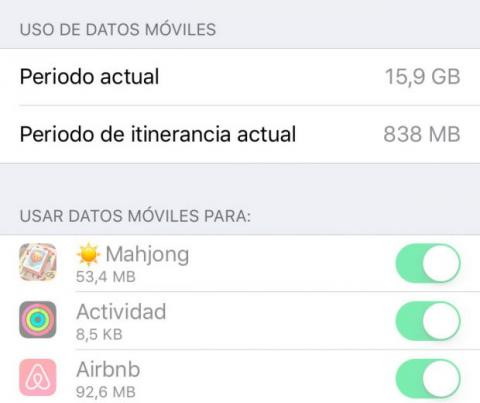 Revisar consumo datos iPhone