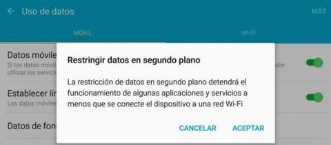 Restringir datos segundo plano Android