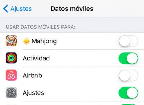 Uso datos móviles iOS