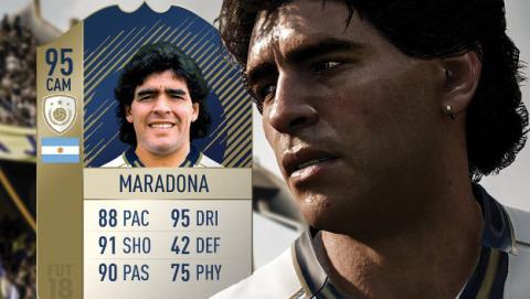 Podrás jugar con Maradona y otras leyendas en FIFA 18.