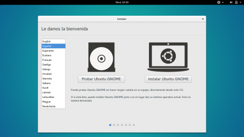 Aquí puedes elegir entre instalar Linux con normalidad o probarlo durante la instalación.