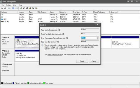 Reducir partición de Windows para crear una nueva.