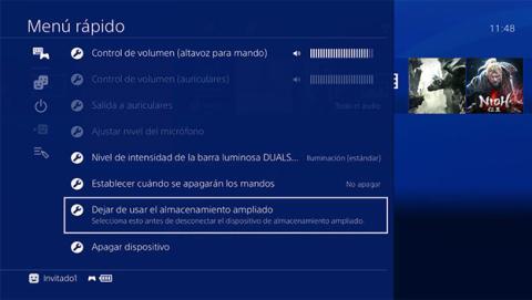 Cómo desconectar el almacenamiento externo de tu PS4 PRO