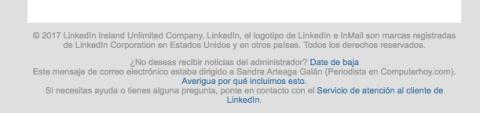 Darse de baja correo LinkedIn