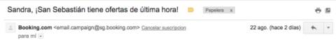 Cancelar suscripción Gmail
