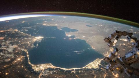 Mar Caspio visto desde el espacio.