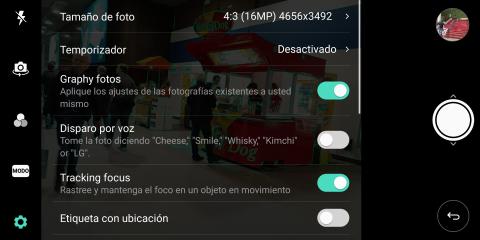 Interfaz de la cámara del LG V30