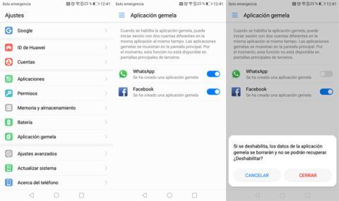 La opción de Aplicación gemela de Huawei