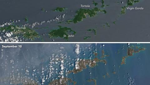 Las islas del Caribe, antes y después del Huracán Irma.