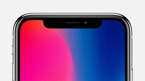 Detalle de la parte frontal del iPhone X