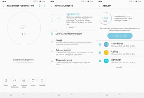 La opción de Mantenimiento del dispositivo en los Ajustes del Note 8