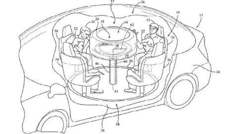 El futuro del coche autónomo tiene forma de salón, según la última patente de Ford.