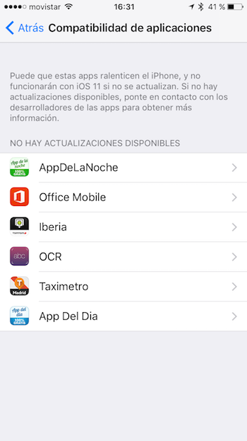 Apps incompatibles iOS 11