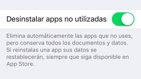 Desinstalar app automáticamente apps que no se utilizan iOS 11