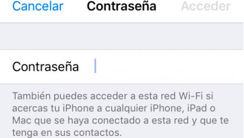Compartir contraseña WiFi iOS 11
