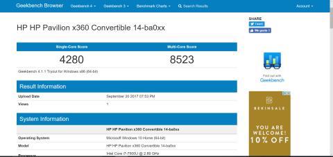 Pruebas de rendimiento y benchmarks del HP Pavilion x360