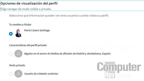 Ocultar visualización perfil de LinkedIn